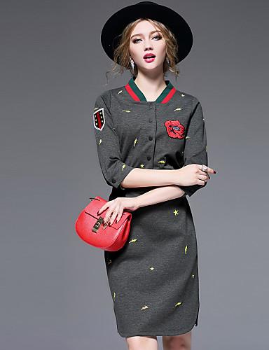 Damen Hülle Kleid-Lässig/Alltäglich Street Schick Stickerei Rundhalsausschnitt Übers Knie ¾-Arm Polyester Nylon Elasthan Herbst Winter