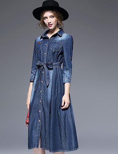 Damen Jeansstoff Kleid-Lässig/Alltäglich Einfach Solide Hemdkragen Knielang ¾-Arm Baumwolle Polyester Herbst Winter Hohe Hüfthöhe