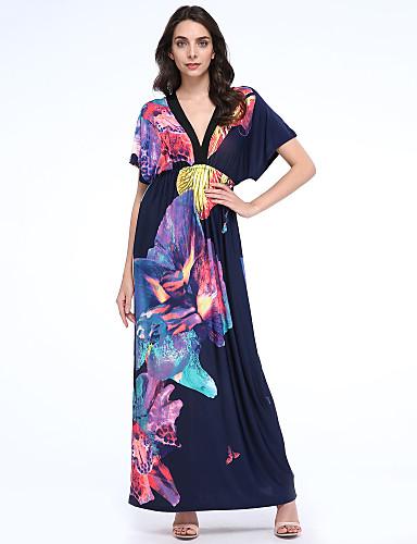Balançoire Robe Femme Vacances Grandes Tailles Bohème,Imprimé V Profond Maxi Sans Manches Coton Polyester Eté Taille Normale