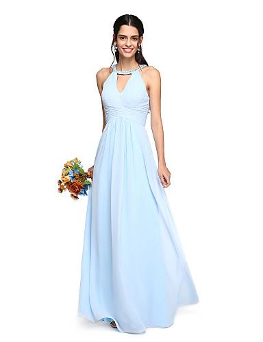Corte en A Joya Hasta el Suelo Georgette Vestido de Dama de Honor con Cuentas / Recogido / En Cruz por LAN TING BRIDE®