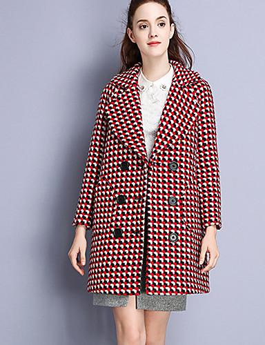 Damen Verziert Einfach Lässig/Alltäglich Mantel Gekerbtes Revers Langarm Rot Wolle Polyester