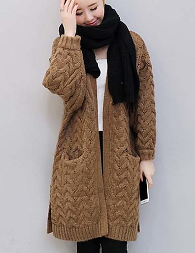 Damen Standard Strickjacke-Lässig/Alltäglich Retro Solide Ein-Schulter Langarm Baumwolle Winter Mittel Mikro-elastisch