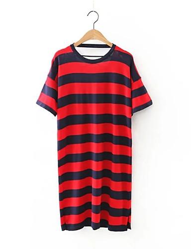 Damen Strickware Kleid-Ausgehen Lässig/Alltäglich Einfach Street Schick Gestreift Rundhalsausschnitt Übers Knie Kurzarm Acryl Polyester