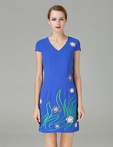 Damen Hülle Kleid-Lässig/Alltäglich Retro Stickerei V-Ausschnitt Übers Knie Langarm Blau Polyester Herbst Mittlere Hüfthöhe Unelastisch