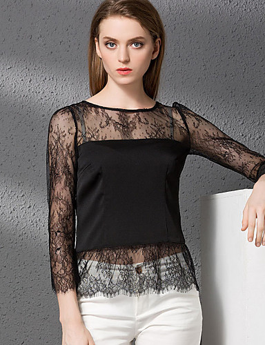 Damen Solide Sexy Lässig/Alltäglich Hemd,Rundhalsausschnitt Herbst Langarm Polyester