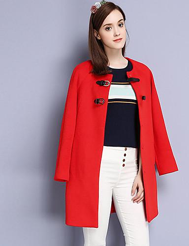 Damen Solide Einfach Lässig/Alltäglich Mantel,Winter Rundhalsausschnitt Langarm Rot Wolle Baumwolle Polyester