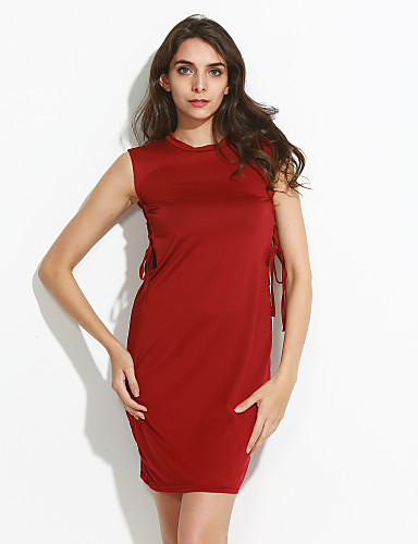 Women's Sexy Solid Bandage Round Sleeveless Bodycon Dress