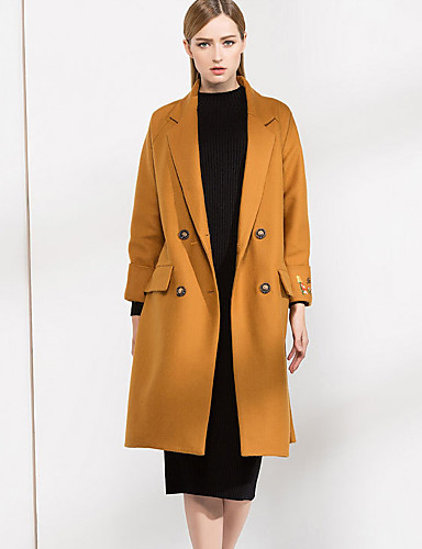 Damen Stickerei Einfach Lässig/Alltäglich Mantel,Herbst Winter Langarm Schwarz Gelb Dick Wolle Polyester