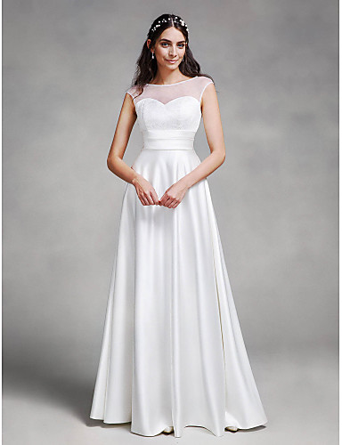 A-Line Illusion Neck Floor Length Satin Made-To-Measure Wedding Dresses with Sash / Ribbon by LAN TING BRIDE® / See-Through