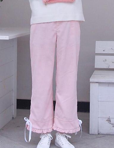 Damen Haremshosen Chinos Hose-Lässig/Alltäglich Einfach einfarbig Mittlere Hüfthöhe Kordelzug Baumwolle Micro-elastisch Herbst Winter