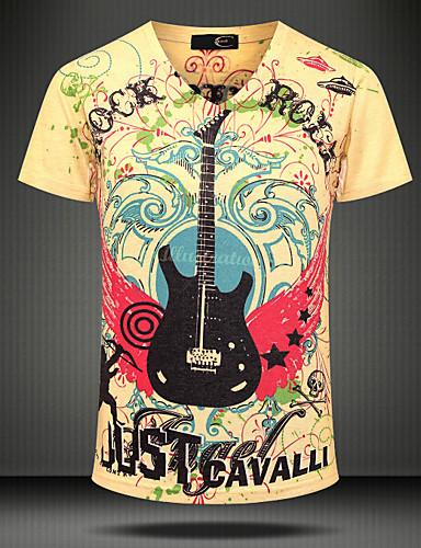 Miehet Lyhythihainen V kaula-aukko Puuvilla Boheemi Party Hiekkaranta Klubi T-paita,Painettu