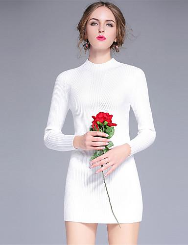 Damen Bodycon Kleid-Lässig/Alltäglich Sexy Solide Rundhalsausschnitt Mini Langarm Rot Weiß Schwarz Grau Kunstseide Polyester NylonHerbst