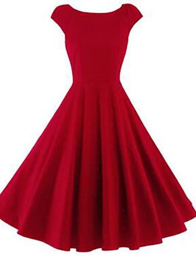 Damen Swing Kleid-Lässig/Alltäglich Retro Solide Rundhalsausschnitt Knielang Kurzarm Polyester Sommer Mittlere Hüfthöhe Mikro-elastisch