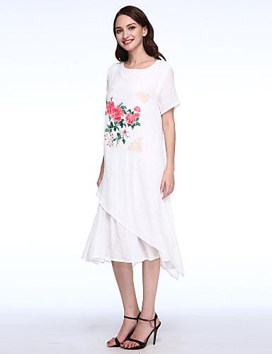 A-linje Løstsittende Kjole Fritid/hverdag Vintage Dame,Blomstret Rund hals Asymmetrisk Halvlange ermer Blå Hvit Bomull Lin Sommer