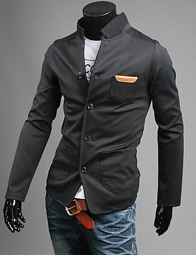 Herren Solide Einfach Street Schick Ausgehen Lässig/Alltäglich Blazer Frühling Herbst Langärmelige Standard Baumwolle
