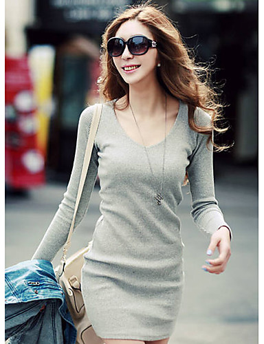 Damen Bodycon Kleid-Lässig/Alltäglich Einfach Solide V-Ausschnitt Übers Knie Langarm Schwarz Grau Baumwolle Frühling Herbst Hohe Hüfthöhe