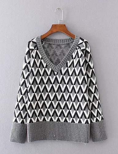 Damen Standard Pullover-Ausgehen Lässig/Alltäglich Einfach Street Schick Einfarbig V-Ausschnitt Langarm Acryl Polyester ElasthanHerbst