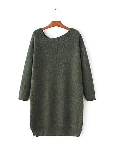 Damen Hülle Strickware Kleid-Ausgehen Lässig/Alltäglich Einfach Street Schick Solide Asymmetrisch Übers Knie Langarm Kunstseide Polyester
