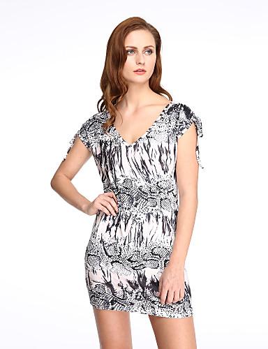 Moulante Robe Femme Sortie Sexy Vintage,Imprimé Col en V Mini Sans Manches Coton Polyester Eté Taille Normale Micro-élastique
