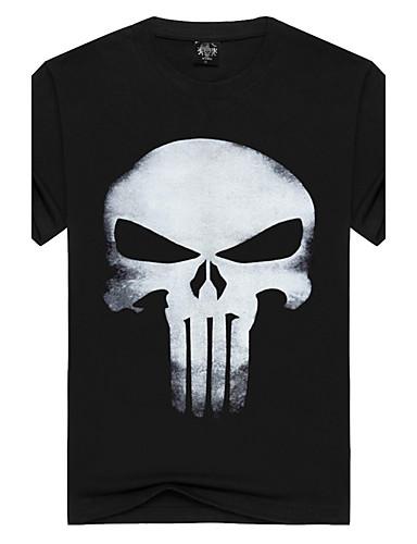 Hombre Activo Punk & Gótico Deportes Playa Estampado - Algodón Camiseta, Escote Redondo