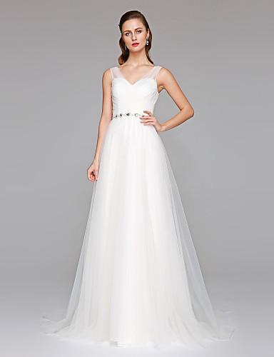 גזרת A צווארון V שובל קורט טול שמלות חתונה מותאמות אישית עם חרוזים סרט בד בהצלבה כפתור על ידי LAN TING BRIDE®