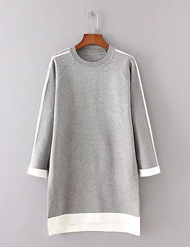 Damen Strickware Kleid-Ausgehen Lässig/Alltäglich Einfach Street Schick Einfarbig Rundhalsausschnitt Übers Knie LangarmKunstseide