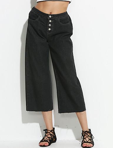 Dame Vintage Bredt Bukseben Jeans Bukser Ensfarvet