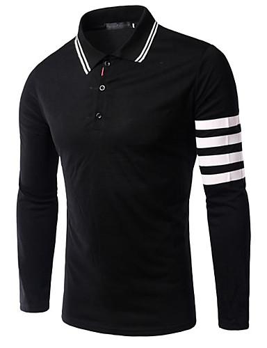 Herren Solide Einfach Ausgehen T-shirt,Hemdkragen Frühling Langarm Baumwolle Mittel