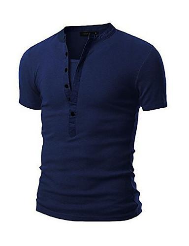 Herrn Solide Sport Baumwolle T-shirt, Rundhalsausschnitt