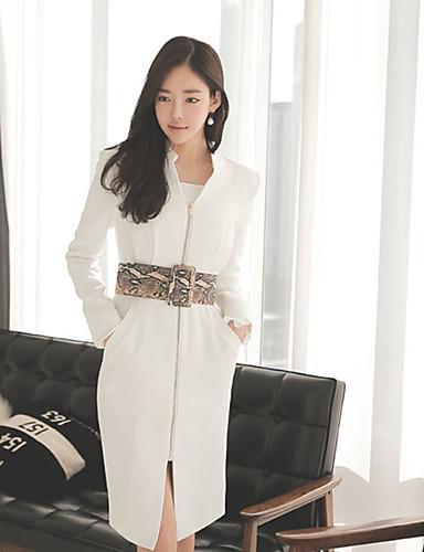 Damen A-Linie Kleid-Lässig/Alltäglich Retro Solide Ständer Übers Knie Langarm Weiß Schwarz Baumwolle Herbst Mittlere Hüfthöhe