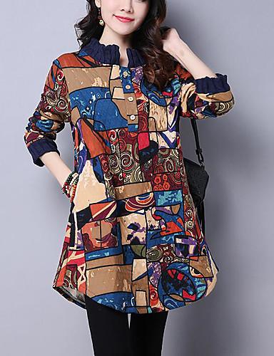 Damen Spitze Kleid-Ausgehen Lässig/Alltäglich Retro Druck Rundhalsausschnitt Knielang ¾-Arm Kunstseide Winter Mittlere Hüfthöhe