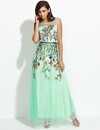 Mujer Tejido Oriental Vaina Vestido - Malla, Floral Maxi / Verano