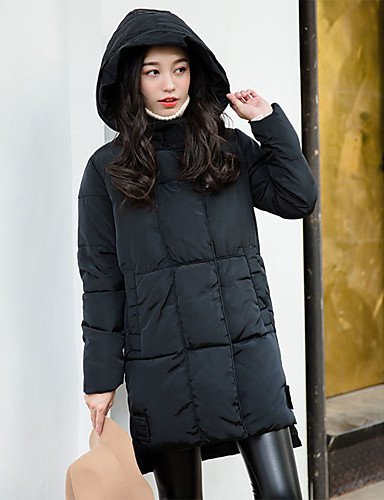 Damen Gefüttert Mantel,Standard Einfach Ausgehen Lässig/Alltäglich Solide-Baumwolle Weiße Entendaunen Langarm Schwarz Hemdkragen