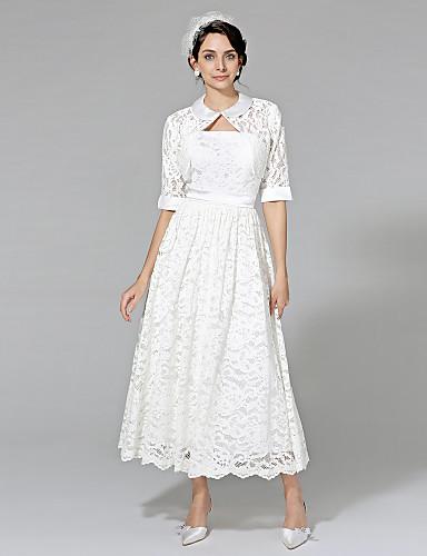 Linha A Sem Alças Longuette Renda Vestido de casamento com Faixa / Fita de LAN TING BRIDE®