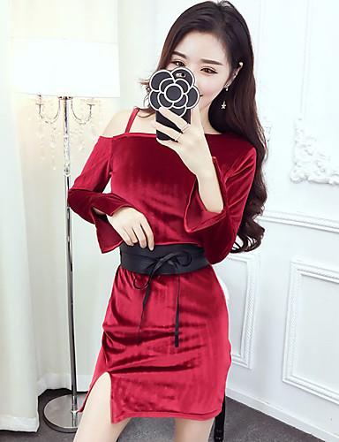 Damen Hülle Kleid-Klub Sexy Solide Schulterfrei Mini Langarm Rot Schwarz Polyester Frühling Herbst Hohe Hüfthöhe Mikro-elastisch Dünn