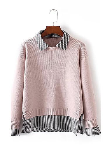 Damen Standard Pullover-Ausgehen Lässig/Alltäglich Einfach Street Schick Patchwork Hemdkragen Langarm Acryl Polyester ElasthanHerbst