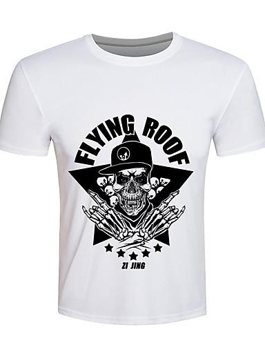 Herren Druck Einfach Aktiv Punk & Gothic Ausgehen Sport Urlaub T-shirt,Rundhalsausschnitt Kurzarm Weiß Baumwolle Elasthan