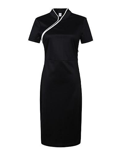 Damen A-Linie Kleid-Lässig/Alltäglich Chinoiserie Solide V-Ausschnitt Midi Kurzarm Schwarz Baumwolle Alle Saisons Mittlere Hüfthöhe
