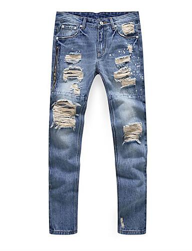 Herren Gerade Jeans Hose-Lässig/Alltäglich Vintage einfarbig Tiefe Hüfthöhe Reisverschluss Kunstseide Micro-elastisch Riemengurte
