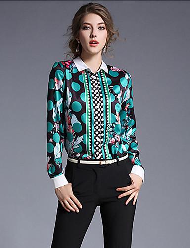 abordables Camisas y Camisetas para Mujer-Mujer Sofisticado Noche Estampado Camisa, Escote Cuadrado Verde M / Primavera