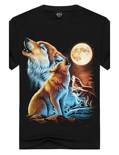 Homens Camiseta - Esportes / Bandagem Moda de Rua / Punk & Góticas Estampado, Animal Algodão Decote Redondo Delgado Lobo / Manga Curta