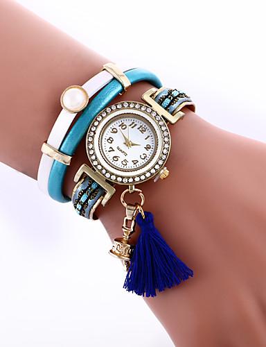 Damen Armband-Uhr Modeuhr Quartz Imitation Diamant Leder Band Schwarz Blau Rot Grün