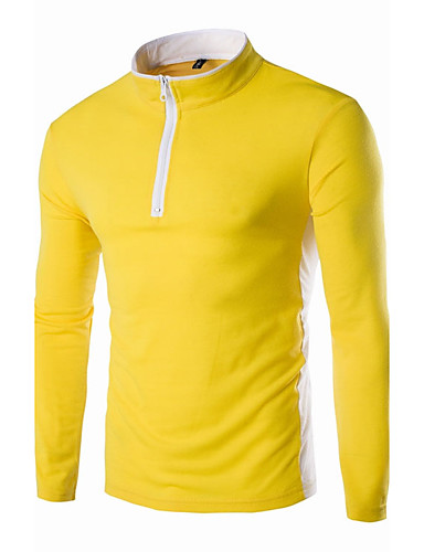 Herrn Solide Freizeit Alltag T-shirt, Rundhalsausschnitt Frühling Herbst Langarm Baumwolle
