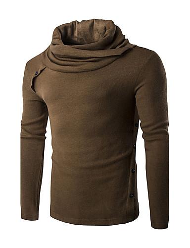 Herren Kurz Pullover-Lässig/Alltäglich Einfach Solide Schwarz Braun Ständer Langarm Baumwolle Frühling Herbst Dünn Mikro-elastisch
