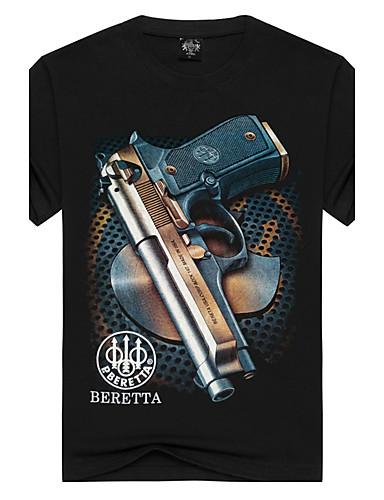 billige T-shirts og undertrøjer til herrer-Rund hals Herre Bomuld, Trykt mønster Aktiv / Punk & gotisk Sport T-shirt Sort L / Kortærmet