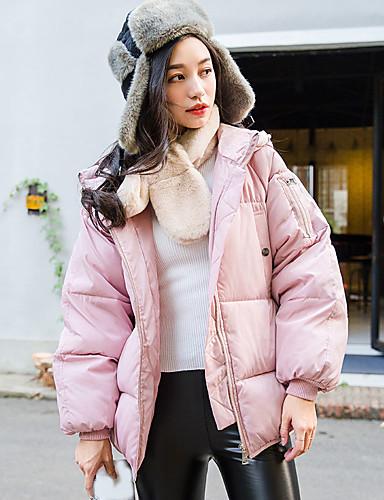 Damen Daunen Mantel,Kurz Niedlich Lässig/Alltäglich Solide-Baumwolle Weiße Entendaunen Langarm Rosa Asymmetrisch