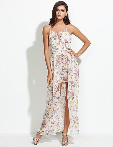 Damen Hülle Kleid-Strand Festtage Boho Blumen Gurt Asymmetrisch Ärmellos Polyester Sommer Mittlere Hüfthöhe Mikro-elastisch