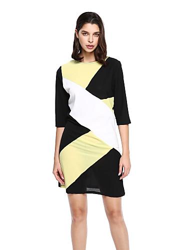 Damen Hülle Kleid-Klub Sexy Geometrisch Rundhalsausschnitt Übers Knie ¾-Arm Gelb Baumwolle Polyester Herbst Mittlere Hüfthöhe