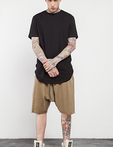 Herren Solide Boho Punk & Gothic Lässig/Alltäglich T-shirt,Rundhalsausschnitt Sommer Kurzarm Baumwolle Mittel