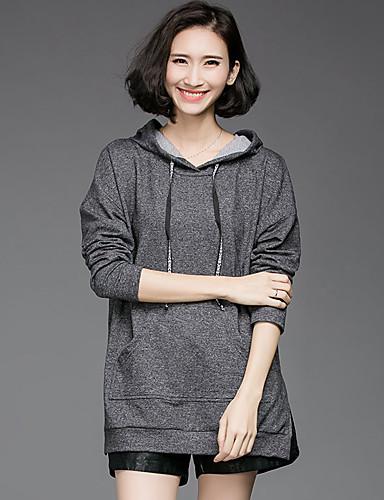 Damen Kapuzenshirt Übergröße Lässig/Alltäglich Einfach Solide Rundhalsausschnitt Mikro-elastisch Baumwolle Lange Ärmel Frühling Herbst